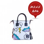 Leather mini bag with shoulder strap Hand painted Lightning - Doodle Collection 4851-DO Fulmine