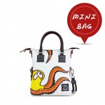 Leather mini bag with shoulder strap Hand painted Black Octopus - Doodle Collection 4851-DO PiovraNera
