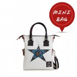 Leather mini bag with shoulder strap Hand painted Fantasy Star - Doodle Collection 4851-DO FantasyStar