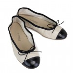 Porselli Ballet Flat - Bone with Black Cap Toe  PO-DS-30-02-02