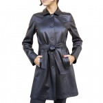Leather Mid-length Trench Coat for Women AB448-NA