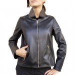 Leather Zip-front Racer Jacket for Women Made in Italy AB449-NA