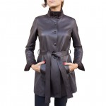 Leather Single-breasted Trench Coat for Women AB454-NA