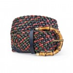 Leather Woven Belt in green and black Made in Italy COCT1