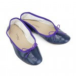 Porselli Ballet Flat - Dark Blue with Purple Trim PO-DS-03-05