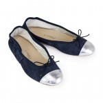 Porselli Ballet Flat - Dark Blue Suede with Metallic Silver Cap Toe PO-DS-C09-16