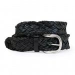 Black Intrecciata Leather Belt, Made in Italy AM06-H
