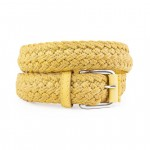 Cord & Leather Braided Yellow Belt with Silver Buckle AM03-F