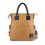 Leather Shopper Bag in beige color 4853-PE_Beige