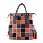 Leather Patchwork Tote Bag - Brick Red 4853-PW_Mattone