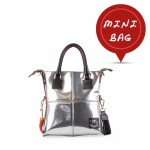 Small Handbag - Leather Tote Bag in Silver 4851-PE_Shiny