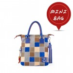 Mini Shopper Bag Leather Tote Collection - Blue 4851-PW_Blu_Grey