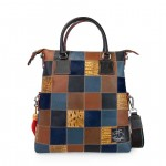 Leather Patchwork Tote Bag - Dark Brown & Blue 4853-PW_Brown_Blue