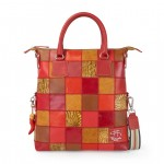 Borsa Shopper Tote in pelle con tracolla - Fortunata 4853-PW_Red_Gold