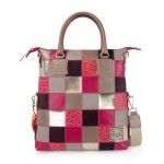 Leather Patchwork Tote Bag - Fortunata 4853-PW_Fuxia_Beige