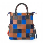 Leather Patchwork Tote Bag - Dark Brown & Blue 4853-PW_Brown_ElectricBlue