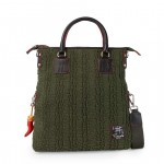 Borsa Shopper tinta unita in tessuto - Verde 4853-TE_Green