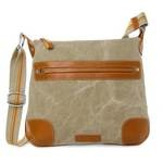 Toscanella Leather & Canvas Shoulder Bag | Toscanella 1515-TV