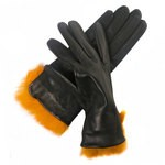 Sandro Temin Rabbit Fur Trimmed Gloves for Women 1550-LA