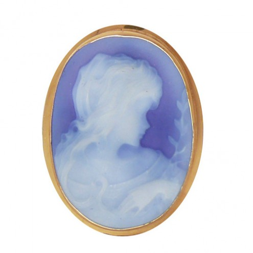 Blue Agate Cameo Brooch, Victorian style - Pierotucci