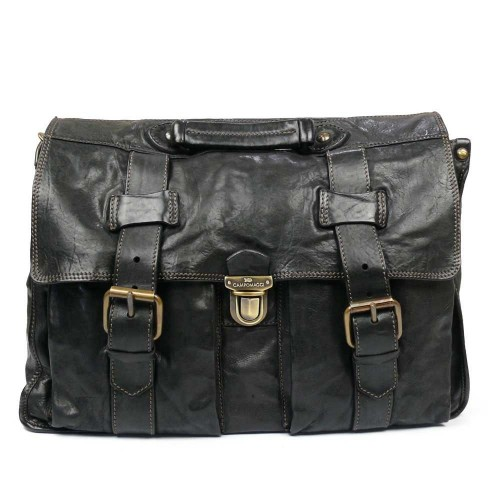 Washed Leather Briefcase Work Bag For Men By Campomaggi C1014 Vl
