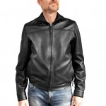 Leather Racer Jacket with 2-way zip for Men Made in Italy AB204-NA