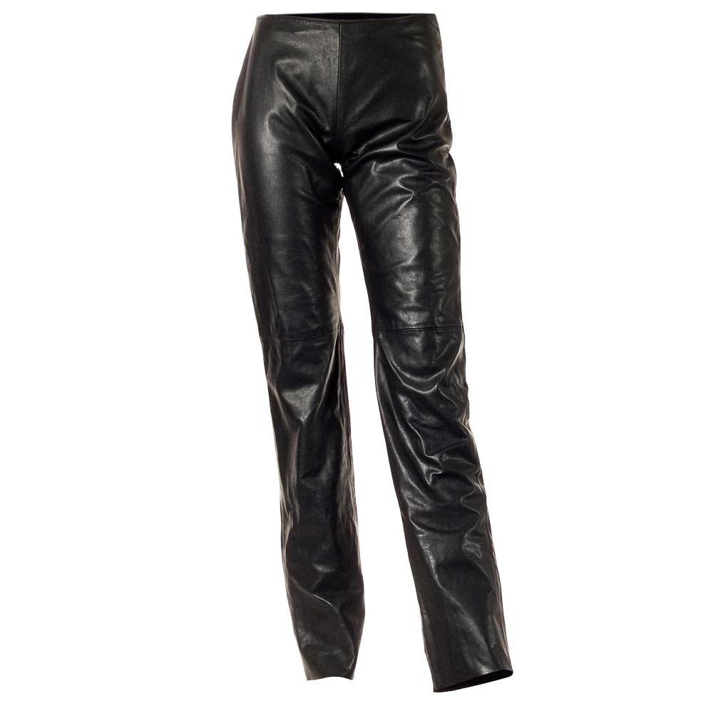 Leather Slim Fit Pants Flat Front For Women Made In