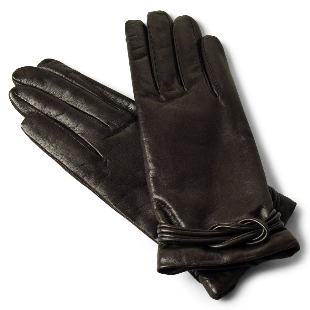Leather Gloves Hand Stitched With Cashmere For Women Made