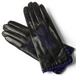 Sandro Temin for Women black leather gloves with vibrant blue accents 658-LA