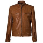 Leather Racer Moto Jacket Vintage Look for Men Made in Florence AB245-NA/027