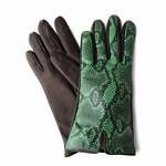 Leather Gloves Wool lined Python print Made in Italy 56-LA