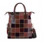 Fortunata Patchwork Italian Leather Handbag 4853-PW brown