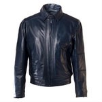 Pierotucci Men's Blue Leather Jacket with removable collar AB283-NA
