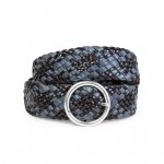 Leather Wide Woven Belt Made in Italy AM06-blu