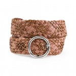 Light Brown Leather Woven Belt Made in Italy AM06