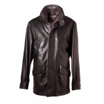 Leather Car Coat Generous Cut for Men Made in Italy AB276-NA moro