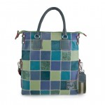 Fortunata Patchwork Italian Leather Handbag 4853-PW green