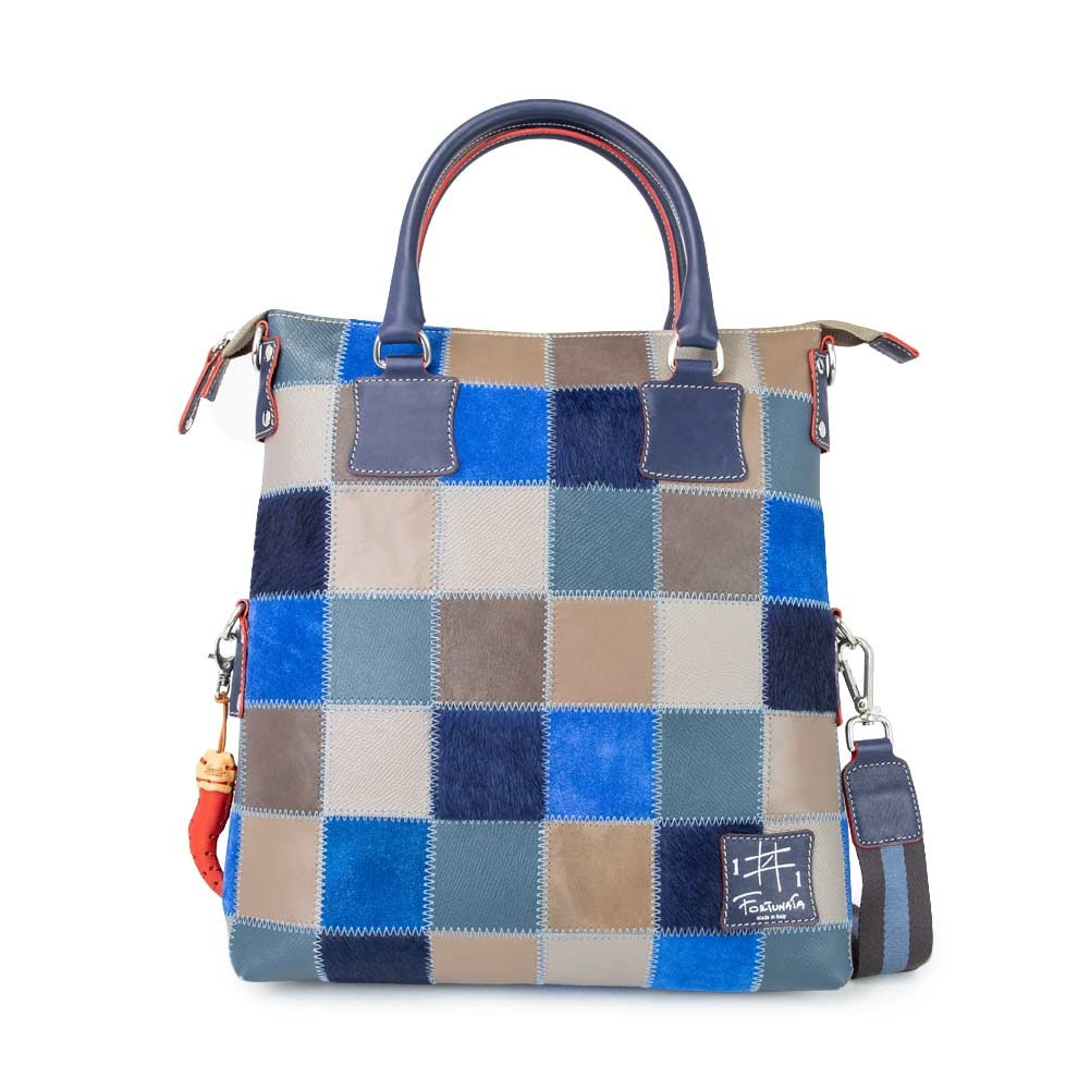Leather Patchwork Tote Bag Blue Fortunata