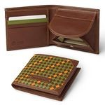 Woven Leather Bifold Wallet with Coin Pocket, Made in Florence 601-VA