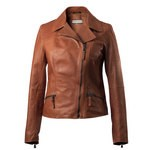Leather Cropped Moto Jacket for Women Made in Italy AB295-NA