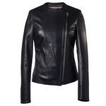 Ladies Black Italian Leather Biker Jacket AB292-NA