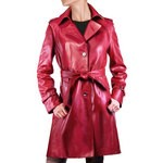 Pierotucci Long Red Trench in Nappa AB202-NA/004