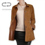 Pierotucci Ladies Long Reversible Coat AB307-NA/cognac
