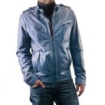 Pierotucci Italian Leather Biker Jacket in Blue AB318-NA/006