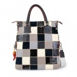 Embossed Leather Tote Bags 4853-PW blk white