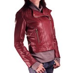 Leather Biker Jacket Quilted Design for Women Made in Tuscany AB320-NA/bordo