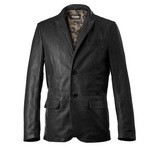 Classic Black Leather Blazer AB301-NA/nero