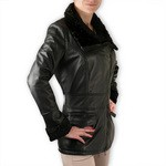 Leather and Persian Lamb Car Coat for Women Made in Tuscany AB319-NA/nero