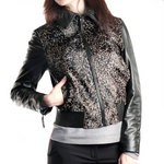 Women's Leather & Fur Bomber Jacket, Made in Florence AB311-CA