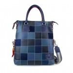 Fortunata Borsa Shopper in pelle con tracolla - Blu 4853-PW blue